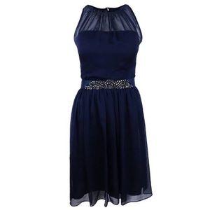 Adrianna Papell Navy Blue Chiffon Sheath Dress